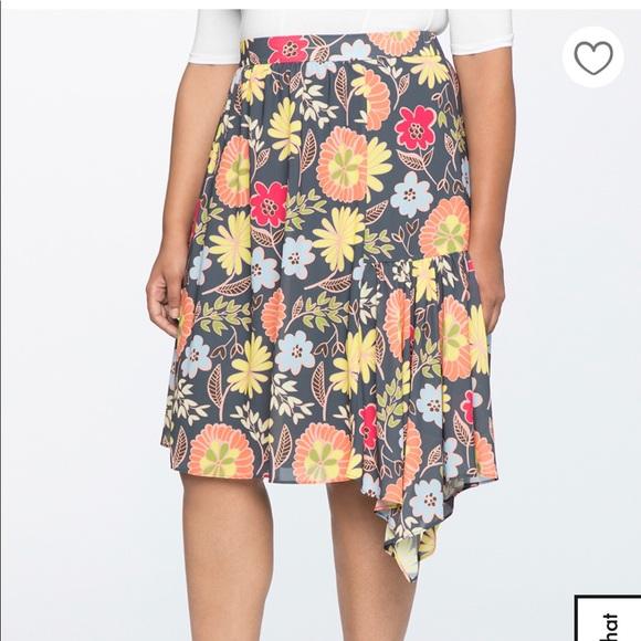 8739f637f9d44 Printed Asymmetrical Midi Skirt. NWT. Eloquii